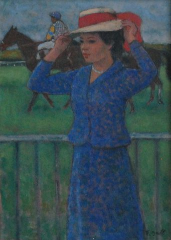 Femme aux Courses d'Auteuil (Sold)