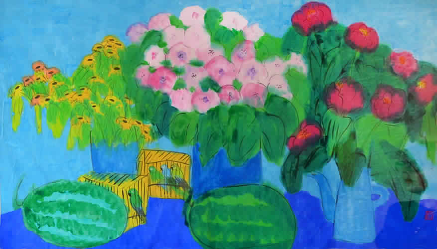 Still Life with Parrot Á Watermelon (Sold)