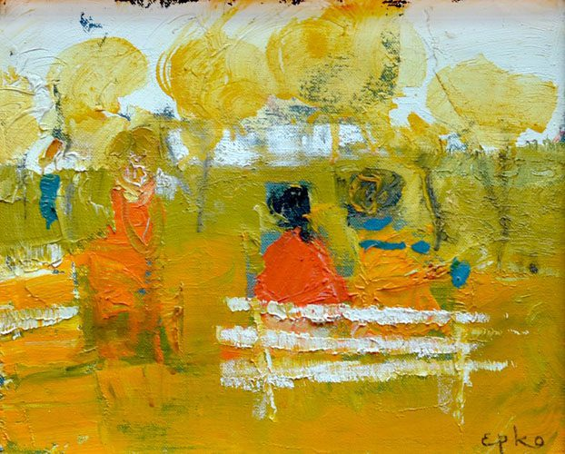 Two Girls on the park bench (Sold)