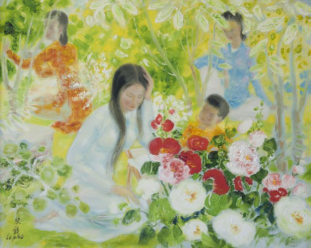 Mother & Child with Two Ladies in the Garden (Sold)
