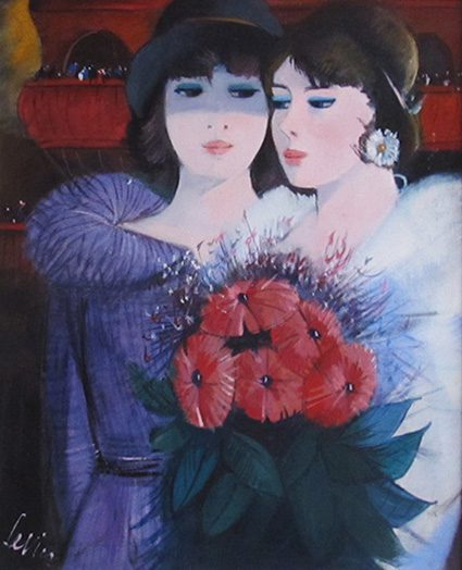 Two Girls with Red Flowers
