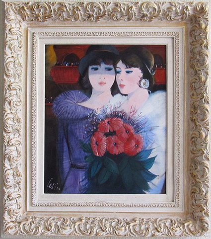 Two Girls with Red Flowers Framed